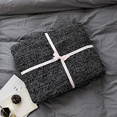 (Prosshop 100% Cotton Knit Throw Blanket Super Soft Fish Bone Pattern Bedroom Couch/Sofa Cover Quilt (Black and White,47'' x 71''))