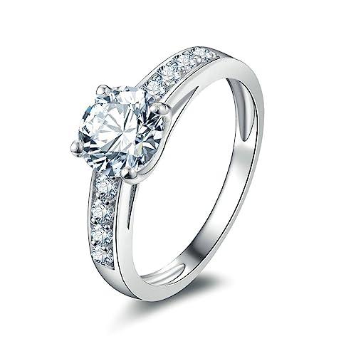 Daesar Joyería Anillos de Compromiso de Plata S925 Mujer, Redondo Diamantes con Cuatro Puntas Pavé
