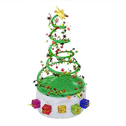 kicode fancy dress christmas tree coil spring hat party hats cosplay costume gifts decor 20cmx40cm - Fancy Christmas Tree