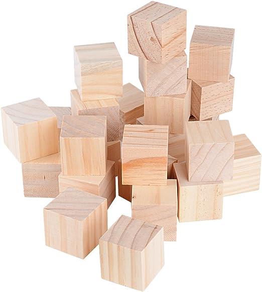 100pcs 20mm Cubos Madera Bloques Cuadrados para Manualidades Diy Artesan/ía Pintar Decoraci/ón