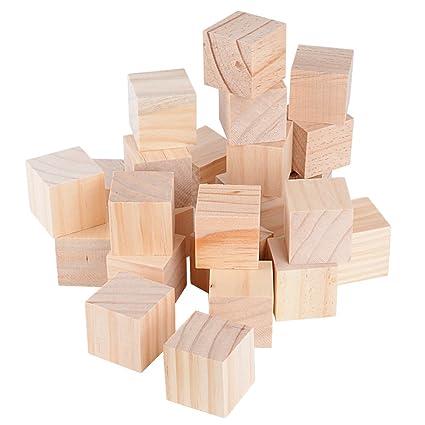 Cubi In Legno.40mm 24pz Cubi Legno Naturale Grezzo Da Decorare Decorazioni Fai Da Te