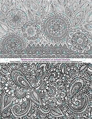 Paisley Garden & Floral Fantasy Color Me Magic Transfers Pre Printed Magic Transfer Paper for Polymer Clay and Mixed ()