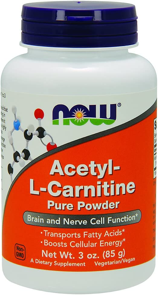 NOW Supplements, ALC (Acetyl-L-Carnitine) Powder, Brain and Nerve Cell Function*, 3-Ounce