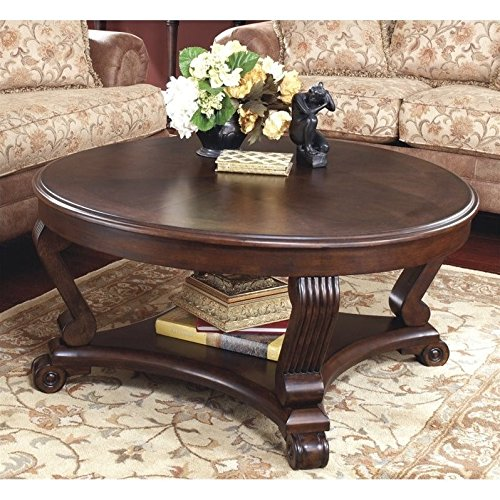 Ashley Furniture Signature Design – Brookfield Coffee Table – Cocktail Height – Round – Grand Elegance – Dark Brown
