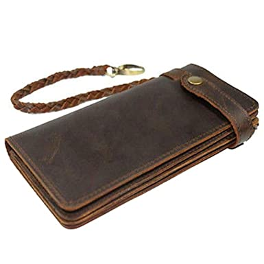 d3c0269c6144 Itslife Men's RFID BLOCKING Brown Bifold Vintage Hand Made Leather Chain  Wallet
