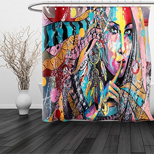 HAIXIA Shower Curtain Modern Art Sexy Girl with Tribal Dreamcatcher and Ethnic Murky Oriental Bohemian Paint - Macys Sf Men