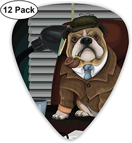 Guitar Picks 12-Pack,Traditional English Detective Dog With A Pipe And Hat Sherlock Holmes Image: Amazon.es: Instrumentos musicales