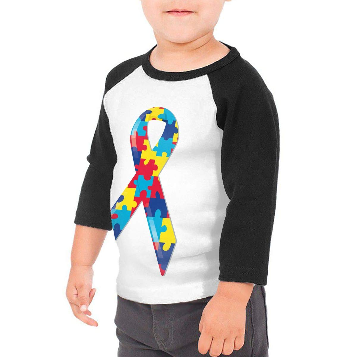 Autism Awareness Ribbon Kids Jersey Raglan T-Shirt Children 3//4 Sleeve Baseball Shirt Top