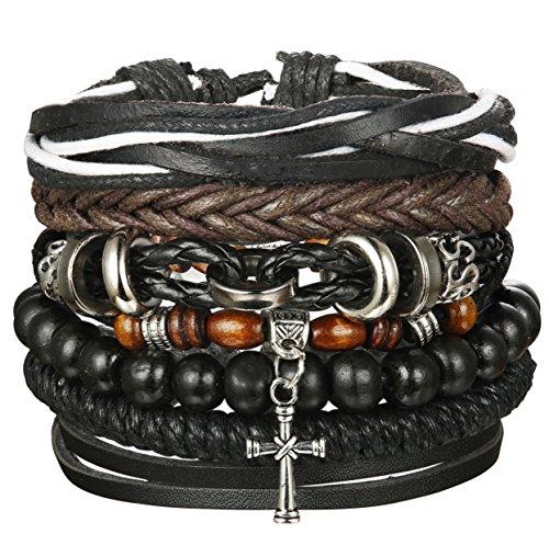 - Udalyn 4Pcs Leather Bracelet Set Beads Bracelets Wrap Bracelet Adjustable Bangle For Men Women