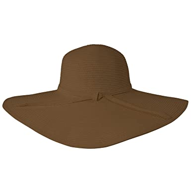 17980598d76c1 Image Unavailable. Image not available for. Color  Luxury Lane Women s  Brown Wide Brim Straw Floppy Sun Hat ...