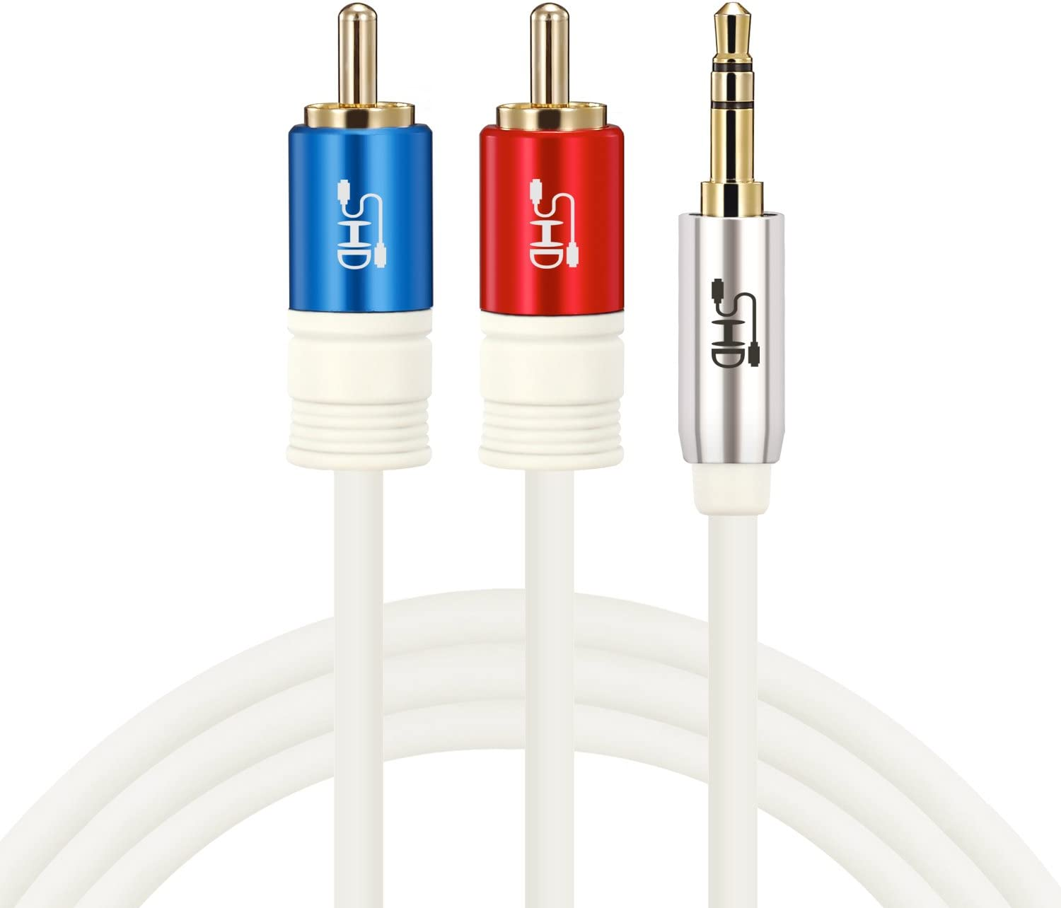 SHD 3.5mm Aux to 2RCA Y Splitter Stereo Audio Cable Male Type OFC Conductor High Flexible PVC Jacket Dual Shielding Gold Plated High End Metal Shell-Black 25Feet//7.6m