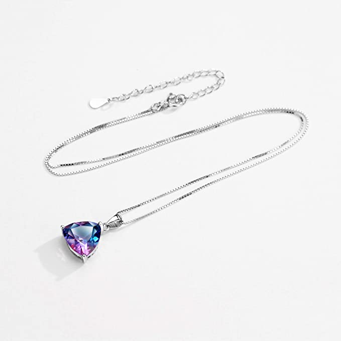 Gorgeous 23mm 2ct Genuine Mystic Topaz Solid 925 Silver NECKLACE Pendant Gift