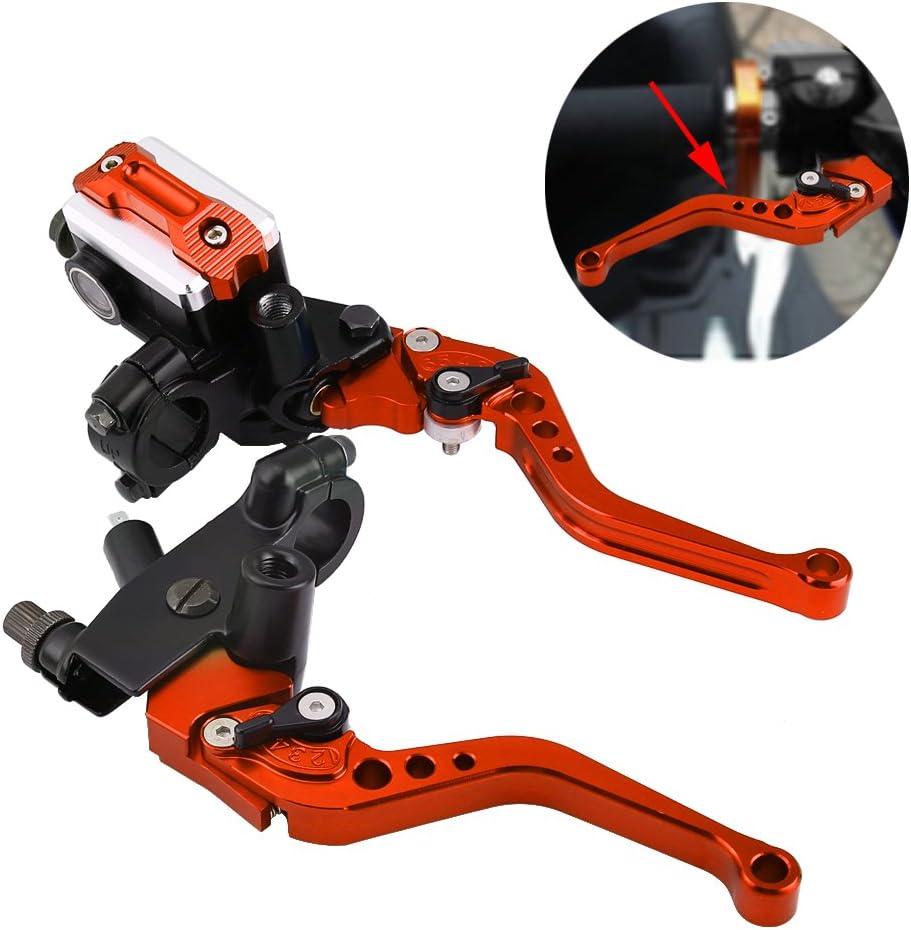 Keenso 1 Paar Verstellbare Bremshebel Und Kupplungshebel 7 8zoll Universal Motorradbremszylinder Für Hauptbremszylinder Rot Auto