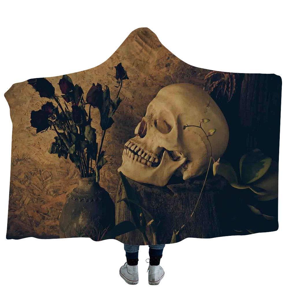 VANKINE スローブランケット グリーン ユニセックス 赤ちゃん用 新生児 幼児用 フレッシュなユリの花 咲き葉 抽象的 ボケ 背景 ガーデンプラント 大人用 60インチ x 80インチ Hooded Blanket 50