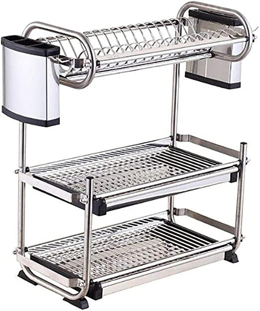 3 Tier Stainless Steel Dish Drainer Drying Rack Kitchen Storage Drainer Tray Kit