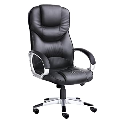 Astonishing Ergonomic Office Executive Leather Mesh Desk Chair Comfortable Adjustable Back Support Padded High Back Black Pu Leather Chairs W Wheels Executive Inzonedesignstudio Interior Chair Design Inzonedesignstudiocom
