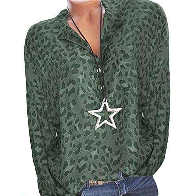 5ad013e9b34b4c NEEKY Damenmode Plus Size T Shirt Sale - Frauen Casual Druck Langarm Button  Tops Bluse Mit