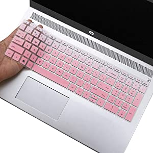 "Silicone Keyboard Protector for HP Envy X360 15.6 Keyboard Cover for HP Envy x360 15.6""/ 2020 2019 2018 HP Envy 15.6"" Laptop/ 2020 2019 HP Envy 17.3"" Laptop Keyboard Protective Skin, Gradual Pink"