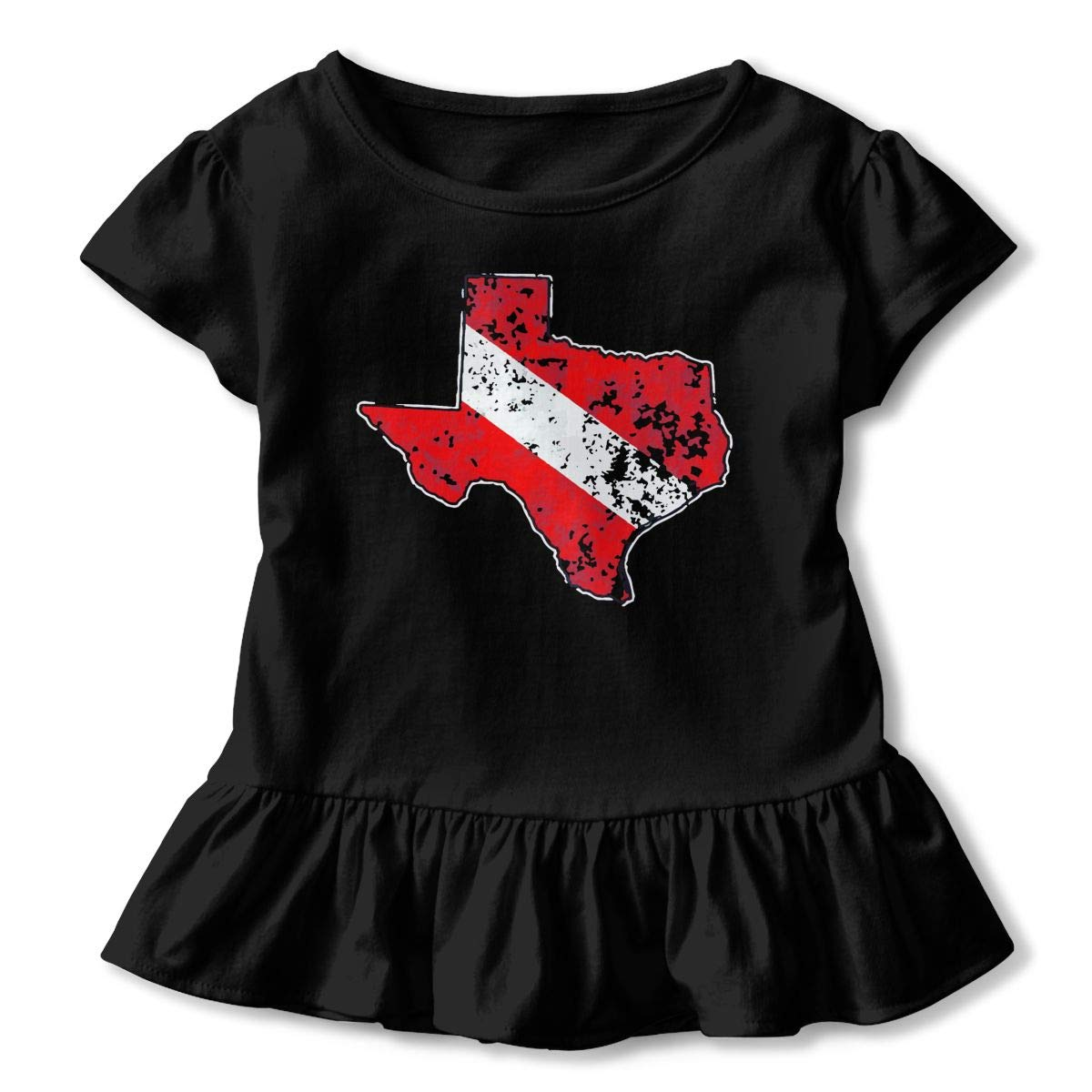 2-Pack Cotton Tee Vintage Texas Scuba Dive Flag Map Diving Diver Baby Girls Short Sleeve Ruffles T-Shirt Tops
