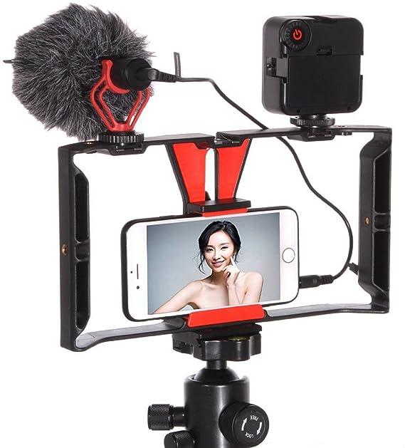 Fotga Compact Video Camera Cage Bracket Handle Rig Stabilizer + 49-LED Light + BOYA BY-MM1 Microphone Shotgun for Smartphone Cell Phone Selfie Video Making Filmmaking Youtube Vimeo Tiktok Vlog Vlogger