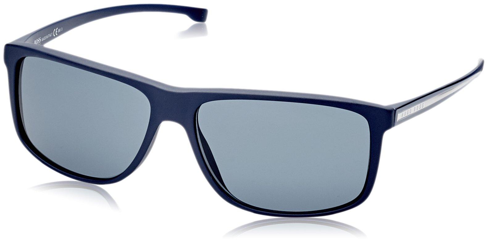 BOSS by Hugo Boss Men's 0875/s Rectangular Sunglasses, Blue, 60 mm