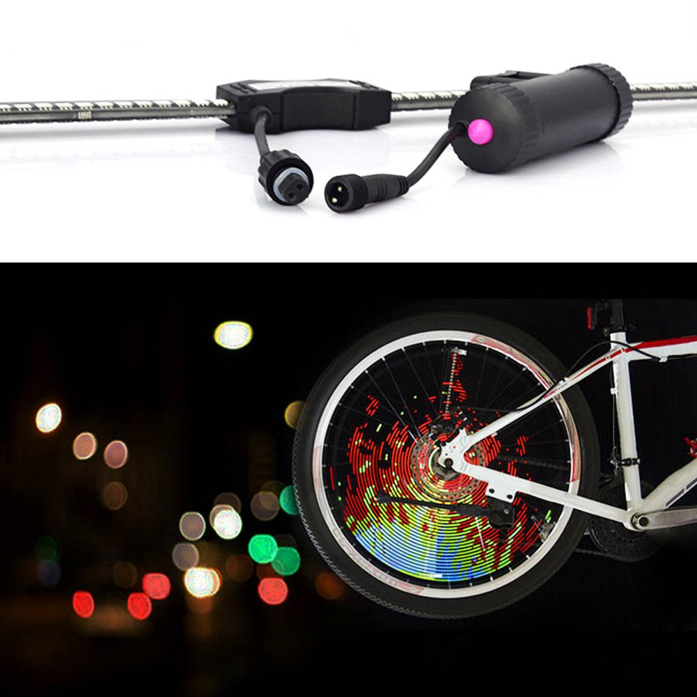 Tulas USB Rechargeable DIY LED Bike Wheel Spoke Light, Night Riding Accessories Waterproof Programmable Bicycle Rim Lights (128 Lights) by Tulas