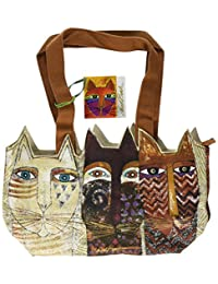 Laurel Burch Medium Tote Zipper Top, 14-1/2 by 4 by 8-Inch, Ancestral Cats