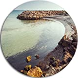 Designart MT11088-C23 Little Lagoon with Fishermen Africa Seashore Circle Wall Art - Disc of 23,Blue,23 X 23