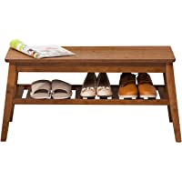 Nnewvante Shoe Rack Bench Bamboo Storage Organizer with Seat for Hallway Entryway Furniture