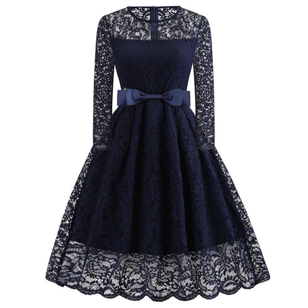HEETEY Kleid,Damen Spitze Abendkleid Lange Ärmel Vintage Party Hepburn Spitzenkleid Eine Linie Kleider