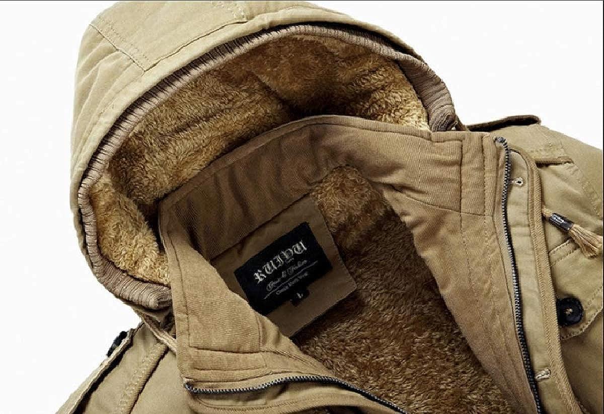 YUNY Mens Brumal Thicken Cotton Hoode Wash 保 Down Jackets and Coats Khaki L