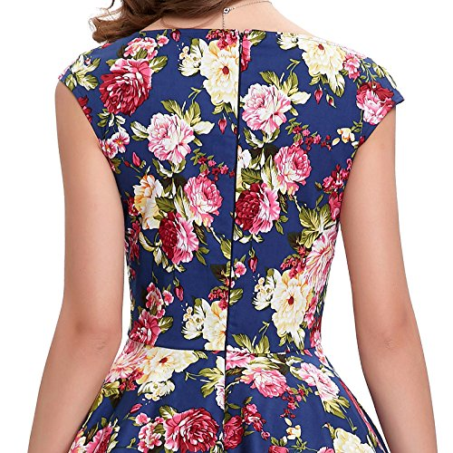 1950s Dresses for Women Pin-Up Knee-Length BP105-2,,Floral-2,Large