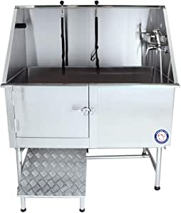 "Flying Pig Grooming 50"" Professional Stainless Steel Pet Dog Grooming Bath Tub with Faucet, Walk-in Ramp & Accessories"