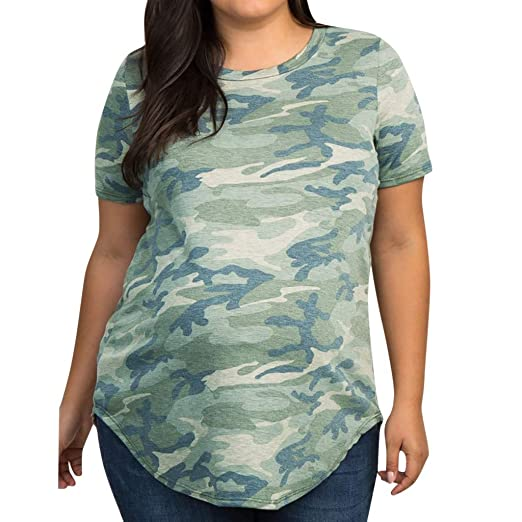 9af822d05d7d9 Amazon.com: OTINICE Women Camouflage Casual T-Shirt Tops Short Sleeve Loose  Comfy Maternity Shirts: Clothing