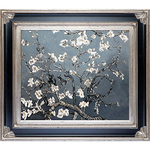 La Pastiche VG2720-FR-278SBP20X24 Almond Tree In Blossom, Pearl Grey Framed Hand Painted Original Artwork with Corinthian Silver Frame - Almond Branches