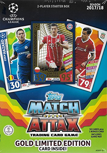 (2017 2018 Topps UEFA Champions League Soccer Trading Card Game Sealed Two Player Starter Box with 38 Cards and a Bonus Robert Lewandowski Gold Limited Edition Card)