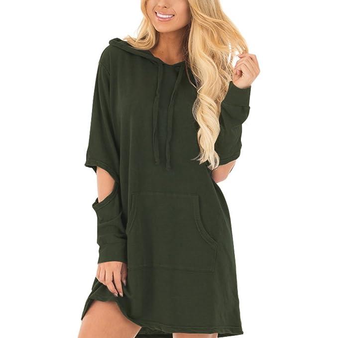 2f53cf8f14c DANALA Women s Loose Fit Long Sleeve Sweatshirt Solid Pullover Hoodie Dress  Army Green Size S