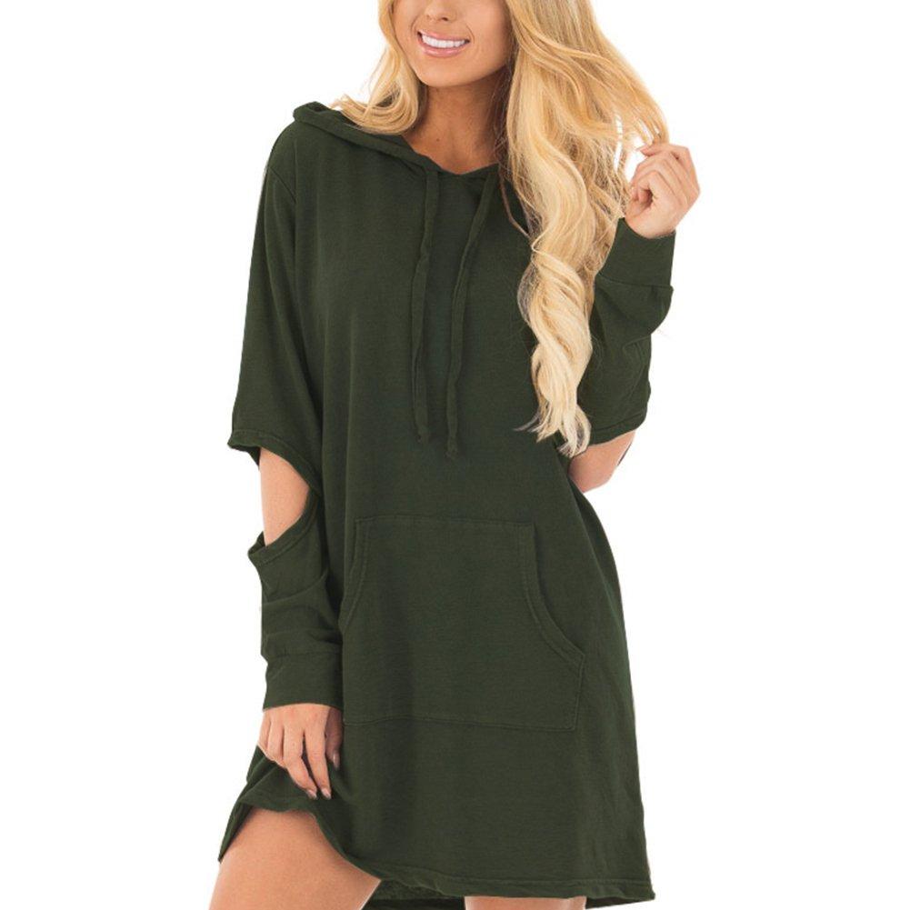 HUHHRRY Women Plus Size Tunic Pullover Sweatshirt Long Sleeve Casual Tunic Hoodie Dress