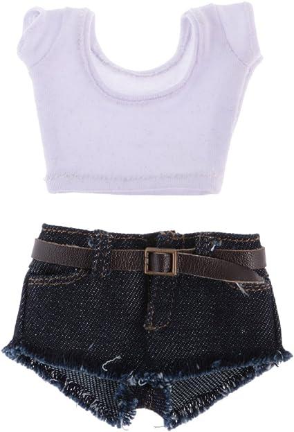 1//6 Female Clothes Jean Jacket Crop Top Vest for 12/'/'  Kumik Figure