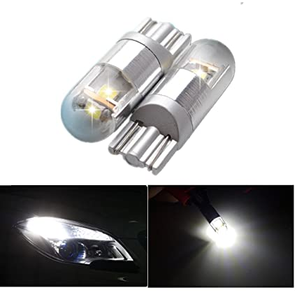 FEZZ Coche LED Bombillas T10 3030 3SMD W5W Canbus para Luces de Posición Laterales Luz de la placa del auto Blanco (Paquete de 2)