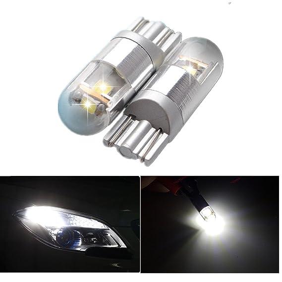 FEZZ Coche LED Bombillas T10 3030 3SMD W5W Canbus para Luces de Posición Laterales Luz de la placa del auto Blanco (Paquete de 2): Amazon.es: Coche y moto