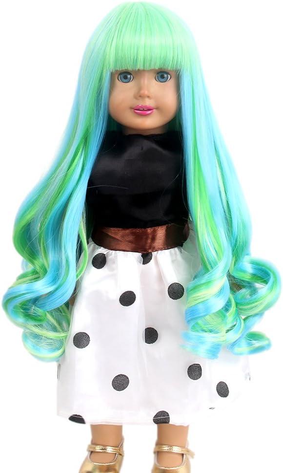 stfantasy American Girl muñeca pelucas Bangs Ombre azul ...
