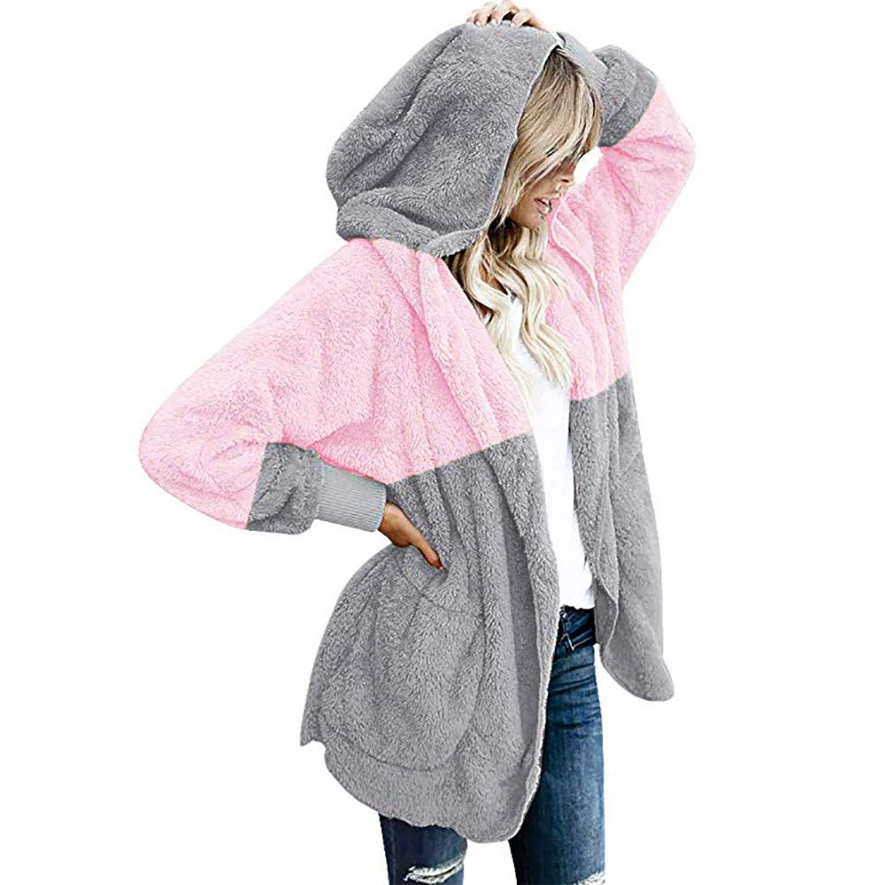 Ladies Winter Loose Color Matching Plush Pocket Hooded Cardigan Coat