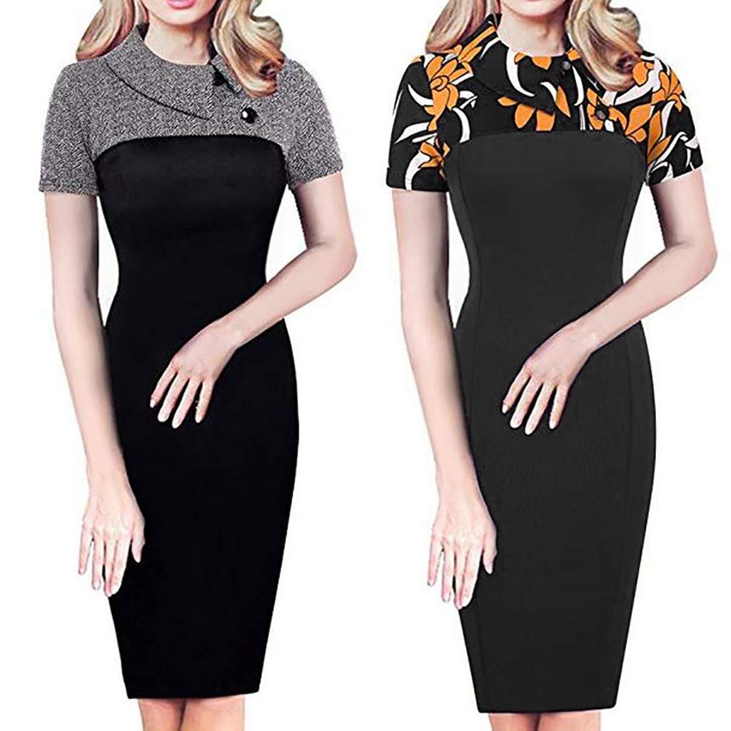 16642a4f84 Amazon.com  VEZAD Fashion Sexy Solid Women Short Sleeve Slim Dress  Clothing