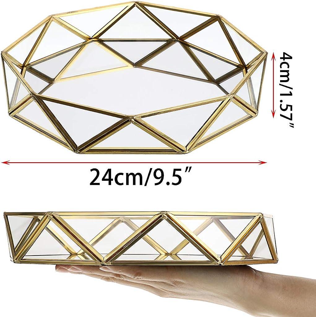 Grande Bijoux Sumnacon Plateau d/écoratif en m/étal et Verre Miroir pour Maquillage Bijoux Plateau /à Prisme Plaque de Parfum