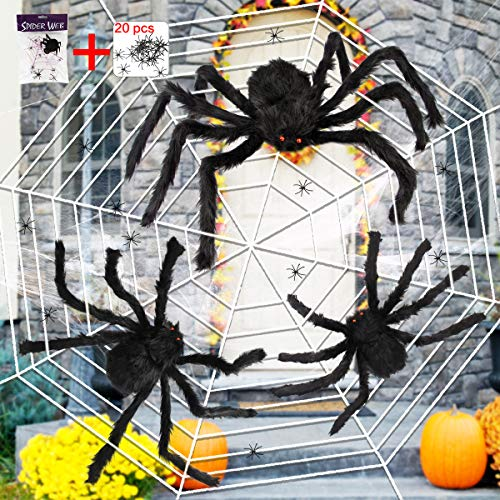 Halloween Decorations Supplies (Outdoor Halloween Decoration, Aitey Scary Giant Spider Web Set with 3 Large Fake Spider, Halloween Spider Web, 20 Small Plastic Spiders, Cobwebs for Window Wall and Yard)