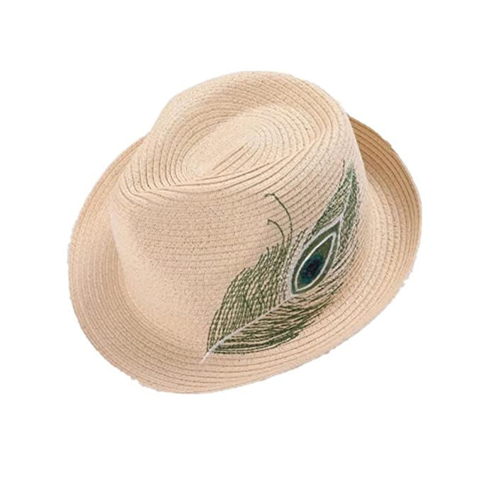 Summer Cool Woven Peacock Feather Pattern Straw Fedora Hat   Stylish ... fb01d844278