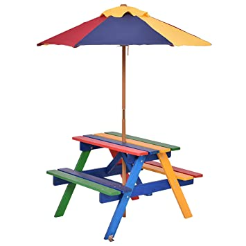 costzon kids picnic table set children junior rainbow bench wumbrella