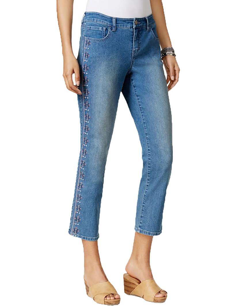 Style & Co. Womens Denim Embroidered Capri Jeans (8)