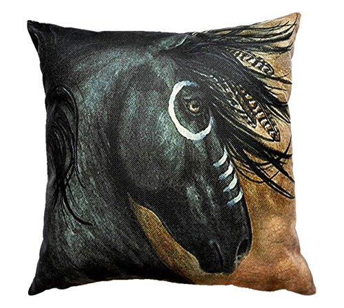 Cotton-Linen-Square-Decorative-Throw-Pillow-Case-Cushion-Cover-HOT-India-Horses-Design-Printed-18-X18